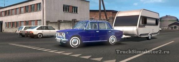 Fiat 124 / ВАЗ-2101 с прицепом