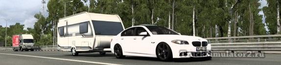 BMW F10 с прицепом